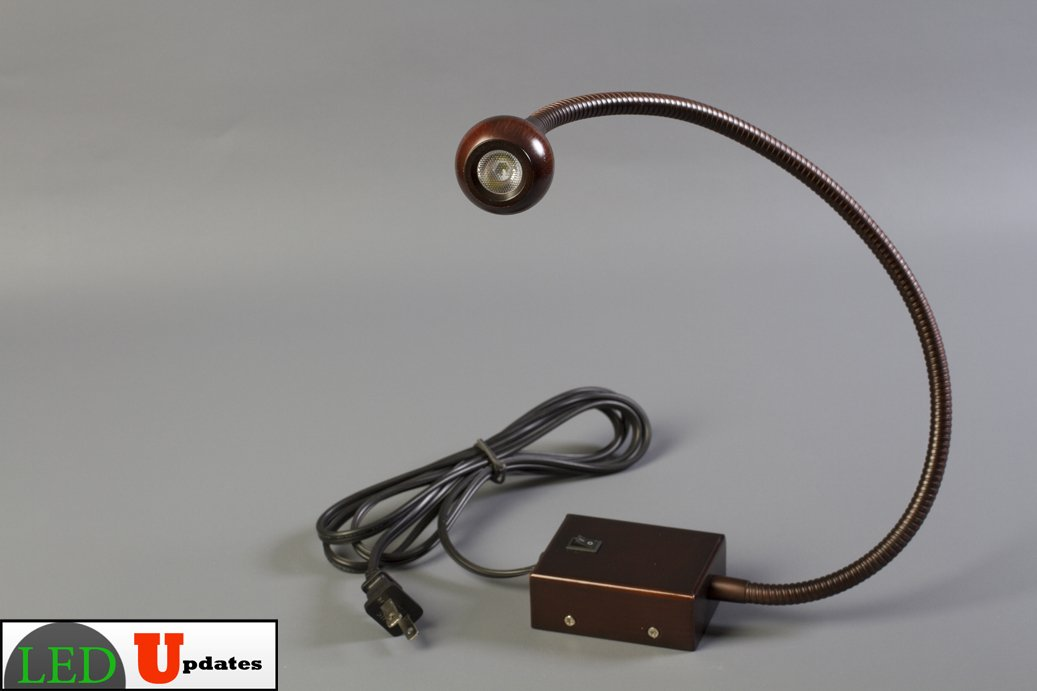 Wall Mounted Led Gooseneck Lamp : LEDupdates Bed side Gooseneck Reading LED light wall mounted bronze finish 5000K eBay