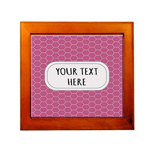 Ceramic Tile in Wood Frame Custom Honeycomb 15 Pattern Pink White Adults