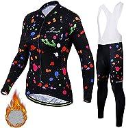 Womens Cycling Clothing Set Winter Long Sleeve Full Zip Riding Wear UV Protection Jacket Bike Jersey Kit Plus
