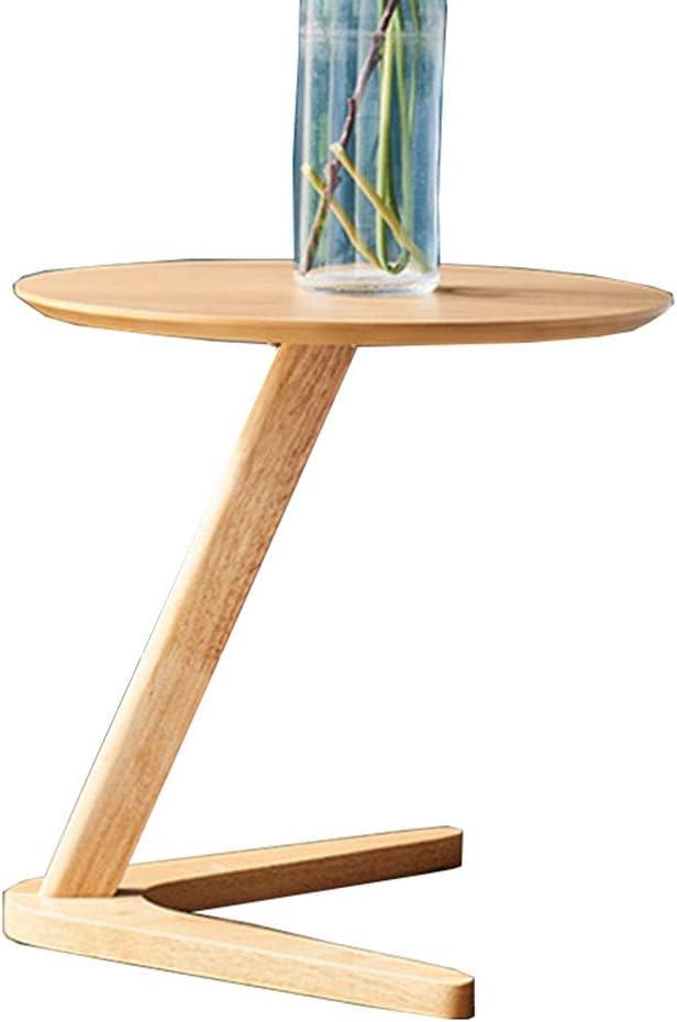 FEIFEI 木製ラウンドサイドアクセントテーブル、 ソファサイドテーブル ベッドサイドテーブル 寝室の居間または玄関で使用するための軽食のテーブル、 50x50CM (Color : B)