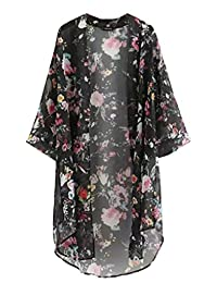The Bazaar R Women Printed Half Sleeve Chiffon Kimono Cardigan Coat Tops Blouse