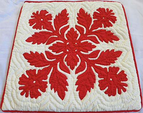 2 Hawaiian quilt throw pillow cover 18x18 100% hand quilted/100% hand appliqued by Hawaiian Quilt Shop