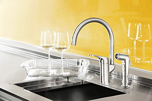 Grana Dish Genie Agrion Modern Single Handle Kitchen Faucet with Side Spray & Washing Sponges (Brushed Nickel) by Grana (Image #3)