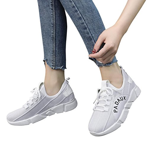 Byste Women Stretch Fabric Solid Color Cross Tied Casual Shoes Running Shoes Gym Shoes White