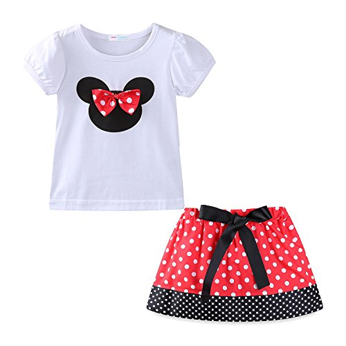 Mud Kingdom Baby Girls Holiday Outfits Cute Clothes Skirt Sets 12M Red]()