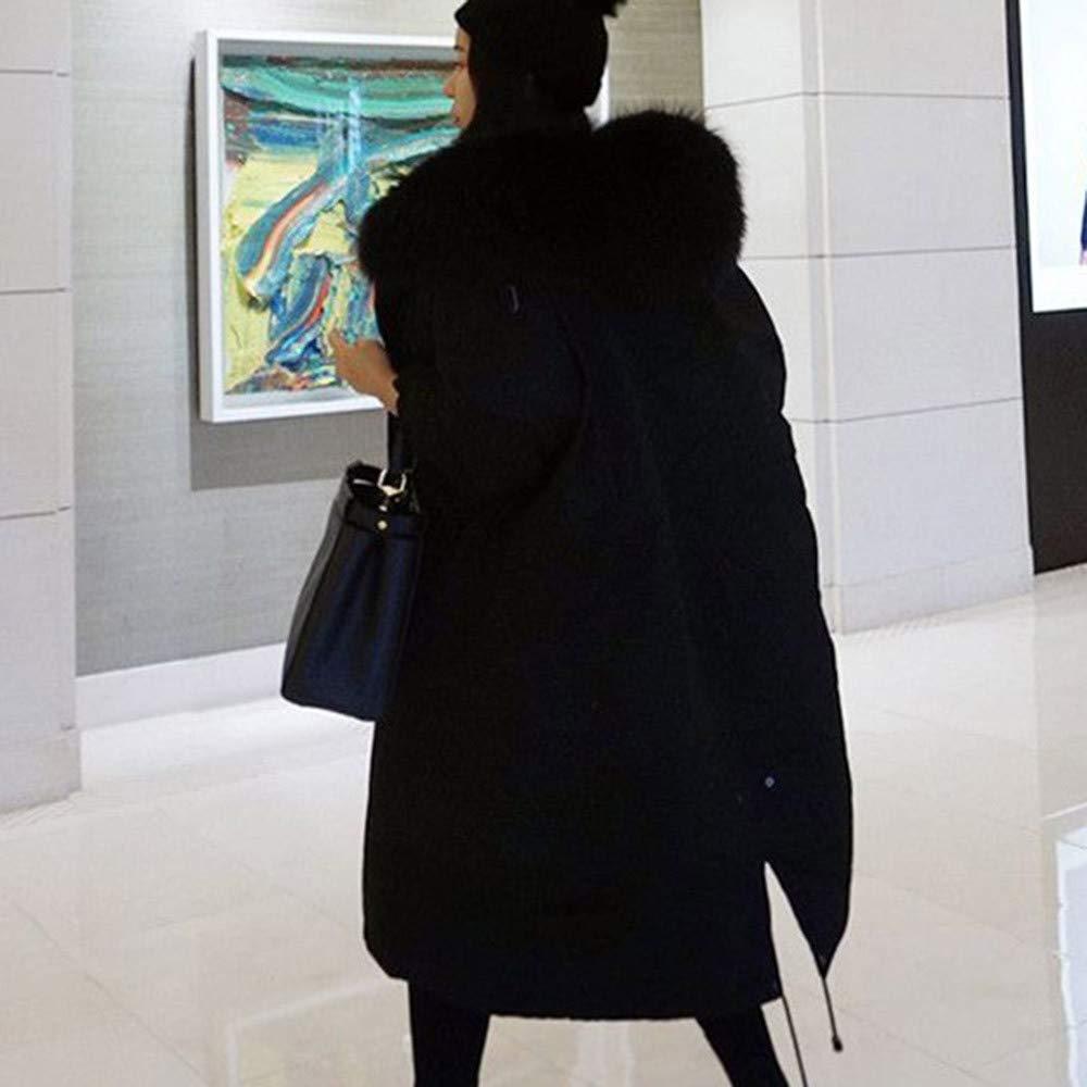 /♥ETHELDING/♥ Long Parka Coats Women Warm Winter Fur Hooded Cotton-Padded Jackets Pocket Coats