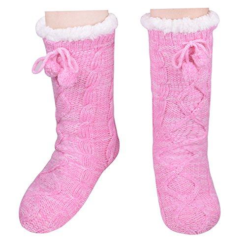 6a0f8fe2ab9dd Pantoufles Tricotées Antidérapantes Chaussettes Chambre Chaude Maison  Chaussures Pour Femmes Filles Rose