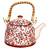 Purpledip Beautifully Painted Ceramic Kettle 1 litre, Steel Strainer Included (10147)