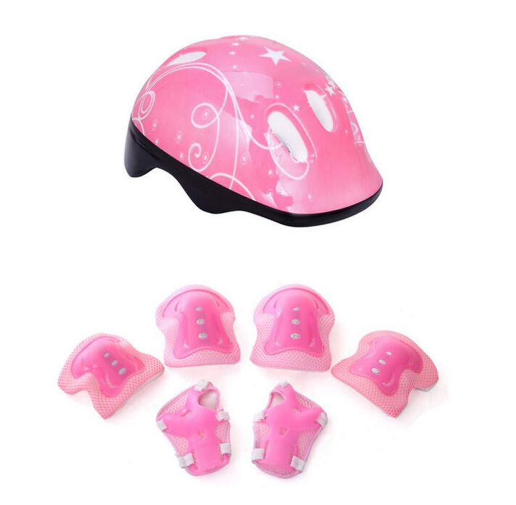 1Set(7Pcs) Adjustable Sports Protective Gear Set Include Helmet Knee Pad/Elbow Pad/Wrist Pad for Cycling Skateboarding Skating Rollerblading Etc - Suitable for 3-12 Years Old Kids Youth(Pink)