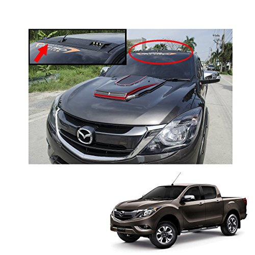 Powerwarauto LED Front Roof Spoiler Cover Matte Black 1Pc Trim For Mazda Bt50 Pro 2Dr 4Dr Pickup 2012 2013 2014 2015 2016 2017 2018