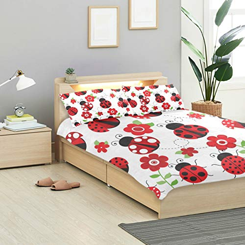 CANCAKA Ladybugs Duvet Cover Set Ladybugs Garden Red Design Bedding Decoration Twin Size 3 PC Sets 1 Duvets Covers with 2 Pillowcase Microfiber Bedding Set Bedroom Decor Accessories