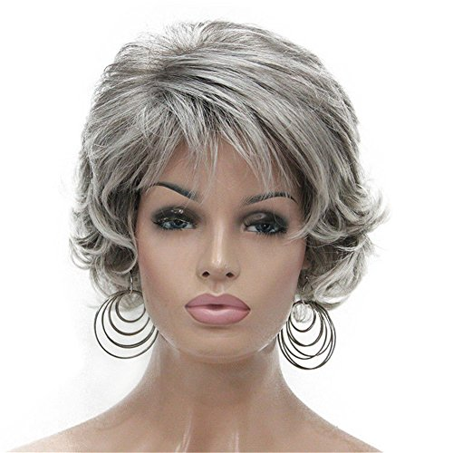 Aimole Short Curly Synthetic Wigs Full Capless Hair Womens Thick Wig for Everyday Grey 48T