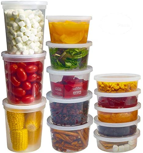 DuraHome Food Storage Containers with Lids 8oz, 16oz, 32oz Freezer Deli Cups Combo Pack, 44 Sets BPA-Free Leakproof Round Clear Takeout Container Meal Prep Microwavable (44 Sets – Mixed sizes)