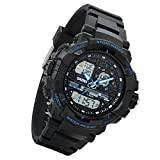 Lancardo 50M Water Resistant Dual Display 2 Time-Zone Digital Military Army Led Sports Watch(Blue,2Pcs)
