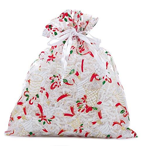 12ea - 6 X 8 White Christmas Jingle Bell Sheer Fabric Bags