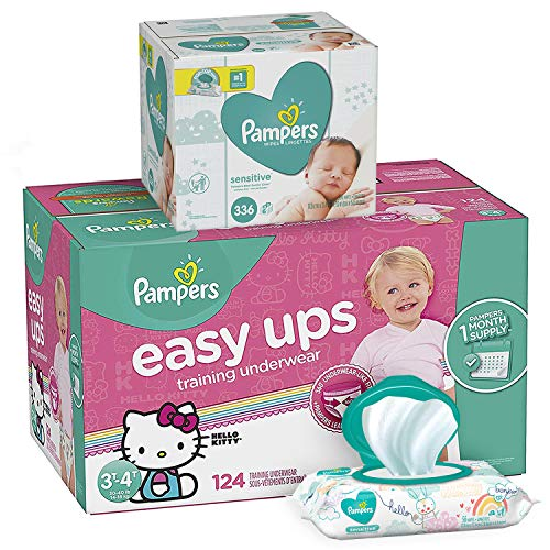 Pampers Bundle - Easy Ups Training Pants Pull On Disposable Diapers for Girls, Size 5 (3T-4T), 124 Count, ONE MONTH SUPPLY with Baby Wipes Sensitive 6X Pop-Top Packs, 336 Count