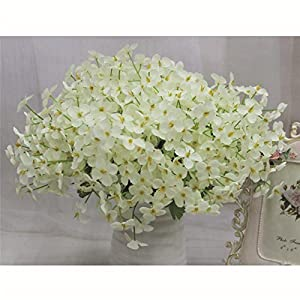 Pannow Butterfly Artificial Flowers Fake Silk Flower for for Wedding Home Office Party Hotel Restaurant Patio Yard Decoration, Creamy-white 54