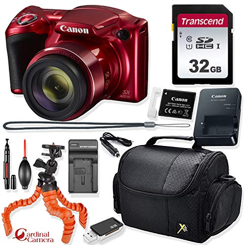 Canon PowerShot SX420 is Digital Camera (Red) + Prime Point & Shoot Travel Accessory Kit