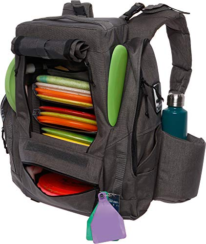 BagLane Fusion Pro Disc Golf Backpack w/Built-in Seat - 25+ Disc Capacity Frisbee Golf Bag (Grey)