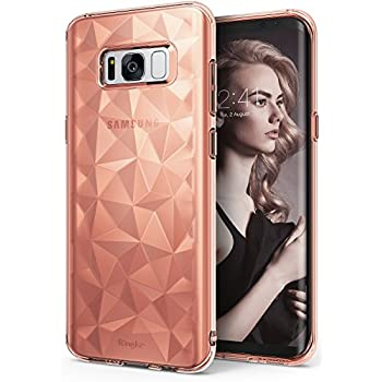 Samsung Galaxy S8 Plus Case, Ringke [AIR PRISM] 3D Vogue Design Chic Ultra Rad Pyramid Stylish Diamond Pattern Flexible Jewel-Like Textured Protective TPU Drop Resistant Cover - Rose Gold Crystal