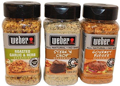 - Weber 3 Pack Seasonings Bundle (7.75 oz Roasted Garlic & Herb, 8.5 oz Steak & Chop, & 8 oz Gourmet Burger)