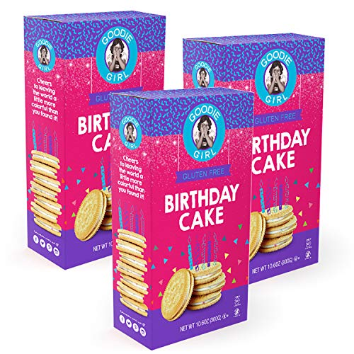 - Goodie Girl Gluten Free Cookies, Birthday Cake Sandwich Cookies, Gluten Free Cookies Peanut Free Kosher Delicious Snack Cookies (10oz Box, Pack of 3)
