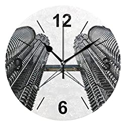 Double Joy Wall Clock Round Architecture Spiral Window Building Tower Metal 10 Inch Diameter Silent Decorative for Home Office Kitchen Bedroom