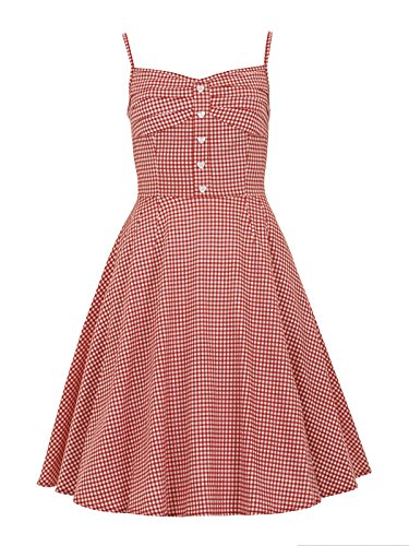 Gingham Gingham Swing weißes Damen Fairy Kleid Muster Rot Dress Pepita Collectif wxTf7Cqt