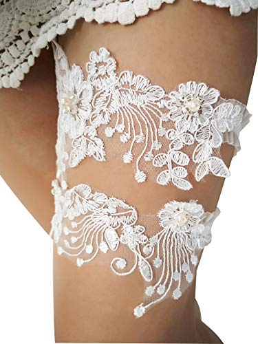 YuRong Wedding Bridal Flower Design Garter Set Lace Pearls Garter Belt for Brides G45 (Blush) ()