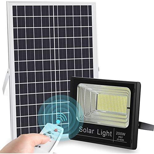 chollos oferta descuentos barato Luz Solar Exterior Mando a Distancia 200W Foco Solar LED Luz Blanco Neutro 8500K Lámpara Solar 200 LEDS Iluminación Solar Hasta 20 HORAS de Luz 10000 LM