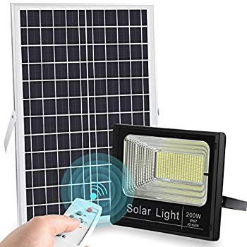 Image of 2019 Upgraded 200W LED Solar Flood Light 400LED Dusk to Dawn Solar Powered Street Light Outdoor Waterproof IP67 with Remote Control Solar Chargeable Flood for Backyard|Garage|Driveway|Basketball Court Home Improvements