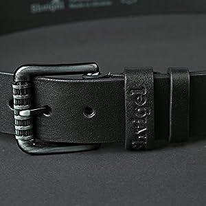 Shvigel Leather Men's Belt - Casual Jean & Classic Dress Belt for Men- with Designer Gift Box (34, Black)
