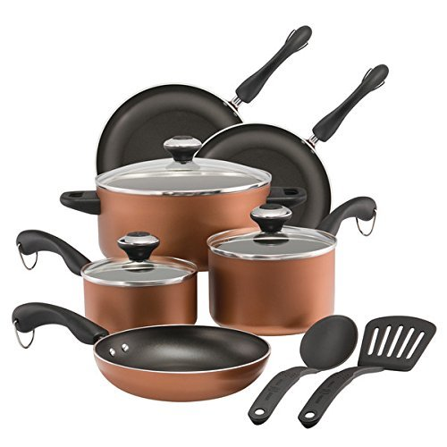 Paula Deen Dishwasher Safe Nonstick Cookware Set, 11-Piece, Copper