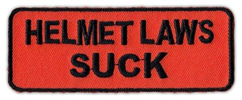Motorcycle Biker Jacket/Vest Embroidered Patch - Helmet Laws Suck - Anti Helmet -