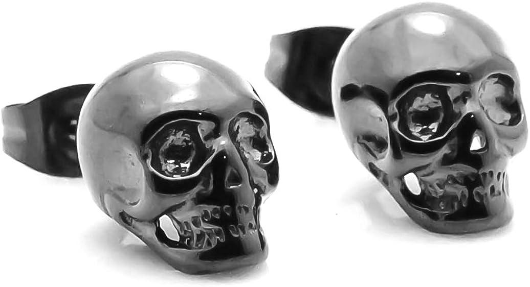 Xusamss Hip Hop Black Stainless Steel Skull Stud Earrings