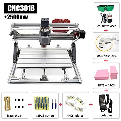 - 2 in 1 CNC Laser Cutting and Engraving Machine 2500mW Class 4 Desktop CNC3018 for Wood, Acrylic & PVC. Made for Small Business and Creative Talents