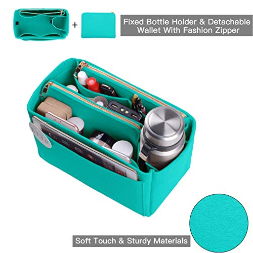 Purse Organizer, Felt Bag Organizer Insert For Speedy, Neverfull, Tote, Handbag, 6 Colors 3 Sizes (Large, Tiffany Blue)