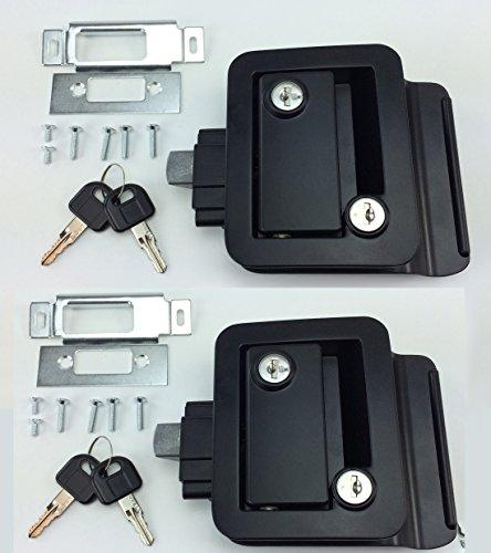 PAIR SET OF 2 NEW RecPro BLACK RV CAMPER TRAILER MOTORHOME PADDLE ENTRY DOOR LOCKS LATCH HANDLE KNOB DEADBOLT WITH MATCHING KEYS !!