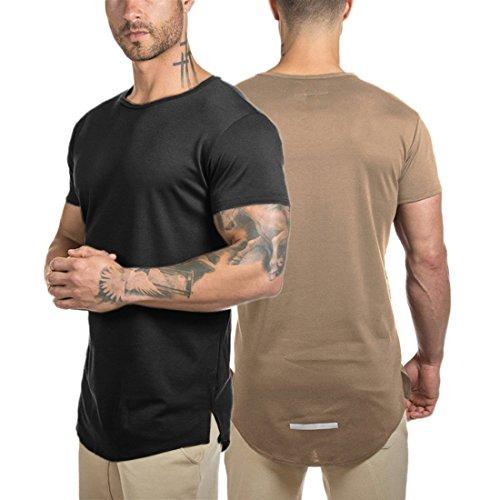 - Athlemon Mens Hipster Longline T-Shirt Hip Hop Curved Hem Shirt Tee Top Streetwear (XL, Style1 Black+Khaki)