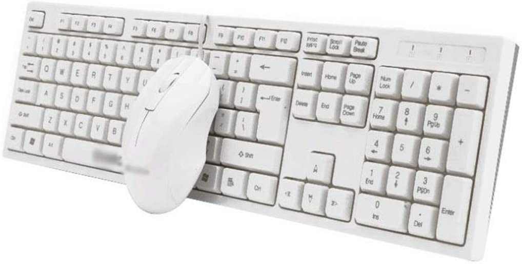PC, Ultra-Thin USB Wired Keyboard and Mouse Set Laptop Color : White Wired Simple Connect with Desktop Computer Mute Narrow Side Office Home Set Frosted Waterproof