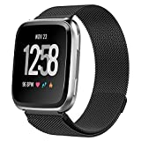 ProCase for Fitbit Versa Bands, Stainless Steel Milanese Loop Metal Band Replacement Adjustable Wristbands Bracelet Strap for Fitbit Versa Fitness Smart Watch, Women Men Large Small –Black, Small