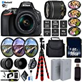 Nikon D5600 DSLR Wi-FI NFC 24.2MP DX CMOS Camera AF-P 18-55mm VR Lens + LED Light kit + Wide Angle & Telephoto Lens + 7PC Filter Kit + Camera Case - International Version