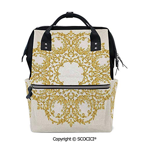 SCOCICI Travel Backpack Large Diaper Bag,Traditional Gold Floral Round Circle with Baroque Elements Turkish Ottoman Style Art,with Wide Style Top Opening