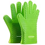 2017 Hot Sale BBQ Grilling Gloves Oven Mitts Gloves for Cooking Baking Barbecue Potholder (green)
