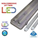 2FT TWIN LED 2 X 10W - NON CORROSIVE WEATHERPROOF FLUORESCENT LIGHT FITTING - IP65 - ENERGY EFFICIENT OUTDOOR STRIP LIGHT - IDEAL FOR GARAGES, WORKSHOP, SHEDS, GREENHOUSES OR COMMERCIAL APPLICATIONS - STURDY CONSTRUCTION - POLYCARBONATE DIFFUSER - BRANDED - 3 YEAR LAMP GUARANTEE - INCLUDES LED TUBE 2 x 10 WATT