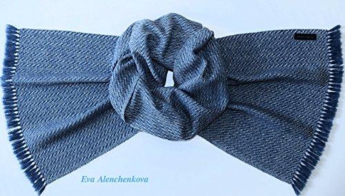 White Blue Cashmere Silk Hand Woven Scarf by Eva Alenchenkova