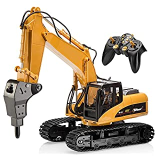 Top Race 15 Channel Full Functional Remote Control Excavator Construction Tractor, Excavator Toy with 2.4Ghz Transmitter and Metal Shovel (Remote Control Drill Excavator)