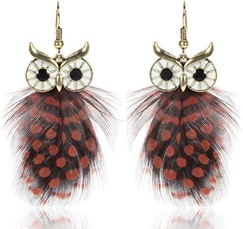 Milnut 1 Paire Boucles doreilles pendantes Chouette longues pour femmes Bijoux Fashion Cadeau