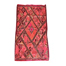 Mogul Vintage Sari Tapestry Embroidered Patchwork Orange Wall Hanging Ethnic Home Décor 90x80