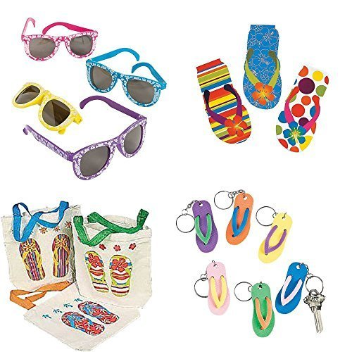 Filled Goody Bag (LUAU Fun Party Goodie Bags 12 Pre-filled - $6.99(Free Treat Bags))